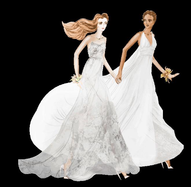 illustratie van 2 bruiden in bruidsjurk